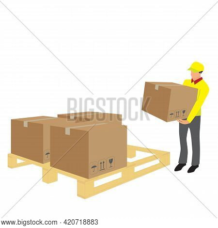 Vector Of Delivery Man Lifting Cardboard From Wooden Pallet In Warehouse. Logistic Storehouse And De