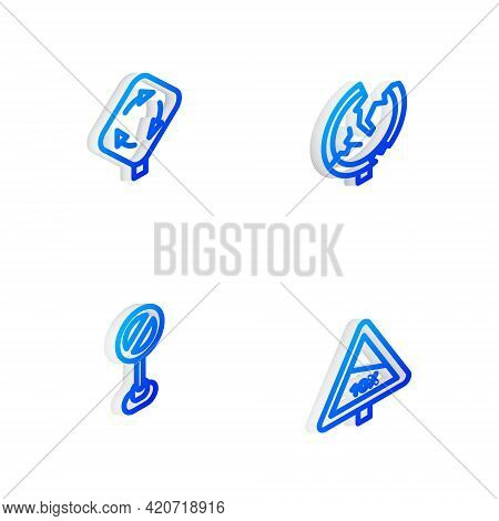Set Isometric Line Road Traffic Sign, Roundabout, Stop And Steep Ascent And Descent Road Icon. Vecto