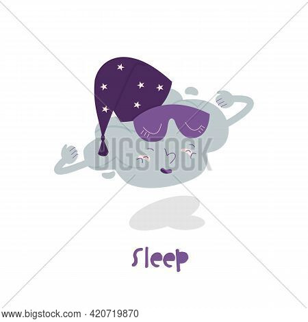 Rest And Sleep More Icon. The Cloud In Bed Cap.