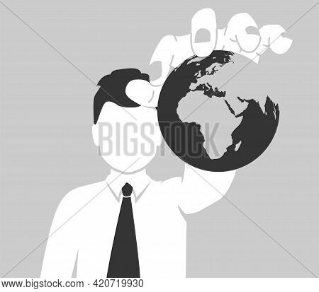 The Concept Of World Domination. A Businessman Holds The Planet Earth In His Hand. The Faceless Man