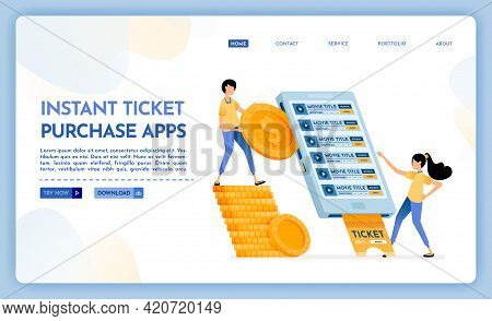 Landing Page Illustration Of Instant Ticket Purchase Apps. People Buy Cinema Tickets Easily Using Th