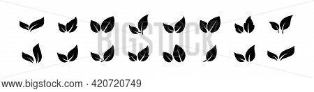 Black Leaves Icon Set Isolated On White Background. Eco Leaves. Eco, Bio Sign Logo. Health Care. Nat