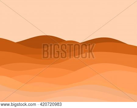 Desert Landscape With Dunes In A Minimalist Style. Flat Design. Boho Decor For Prints, Posters And I