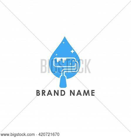 Paint Clean Droplet Logo Icon Design Vector