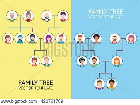Family Tree Design Templates With Avatar Icons