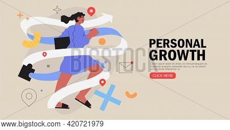 Business Woman Running On Arrow Through Obstacles To Her Goal. Business Developement, Career Success