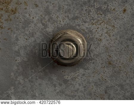 Rusted Bolt And Nut On A Rusted Iron Surface Close-up Macro Photography. Selective Focus