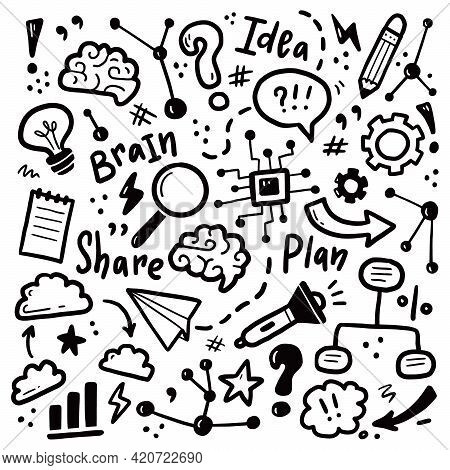 Hand Drawn Set Of Brainstorm, Idea, Brain Elements. Doodle Sketch Style. Isolated Vector Illustratio