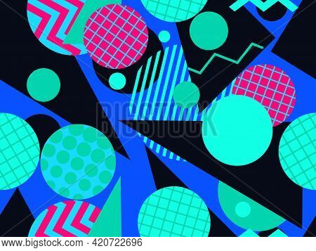 80s Geometric Seamless Pattern. Memphis Style Elements. Circles With Zigzags And Geometric Shapes. B