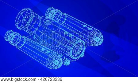 Autonomous Underwater Robot Drone For Seabed Exploration And Deep Sea Video Filming In Wireframe Low