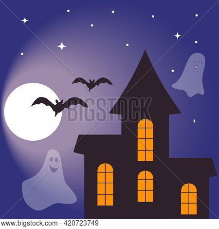 Halloween Card Design Template With A Haunted House, Moon And Bats.