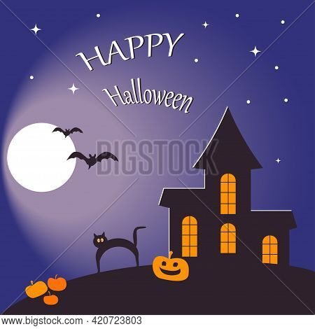 Halloween Card Design Template With A Haunted House, Black Cat And Bats.