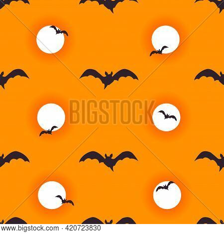 Halloween Seamless Pattern Background. Flying Bats And Bloody Moon Isolated On Orange For Design Hal