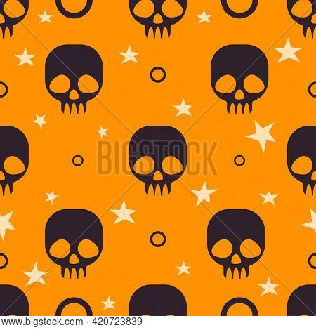 Halloween Seamless Pattern Background. Abstract Skull And Stars Isolated On Orange For Design Hallow