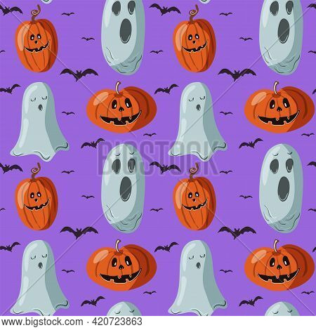 Halloween Seamless Pattern Background. Abstract Ghosts, Funny Pumpkins And Bats Isolated On Purple F