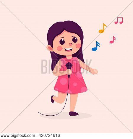 Cute Teen Girl Cartoon Character Singing Song, Flat Vector Illustration