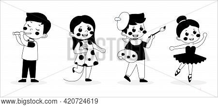 Black And White Cute Little Children Playing Different Hobby, Playing A Musical Instrument, Singer,