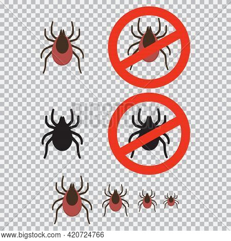 Mite And Stop Sign Vector Set Isolated On Transparent Background.