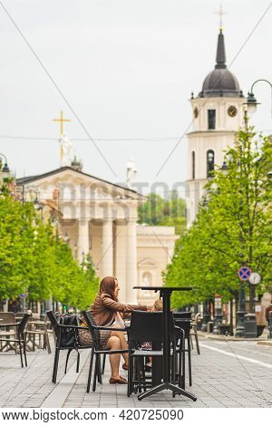 Vilnius, Lithuania - May 17 2021: Outdoor Bar And Restaurant To Be Turned Into Vast Open-air Cafe Ci
