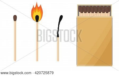 A Box Of Matches, A Match Burning And Burnt. Cartoon A Set Of Images. Vector Illustration.