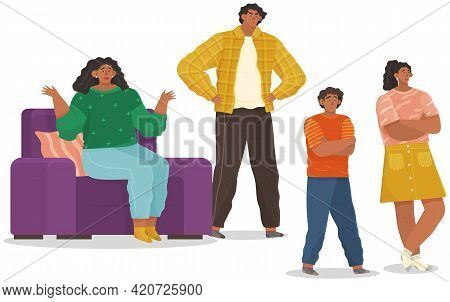 Mutual Relations Of Parents And Children, Mom And Dad Scream And Scold Their Naughty Children, Negat