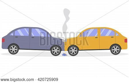 A Two-car Car Accident. Head-on Collision Of Cars. Vector Illustration