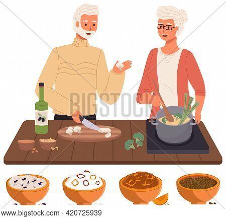 Elderly Couple Preparing Dish Using Vegetarian Ingredients. Proper Nutrition, Healthy Lifestyle And
