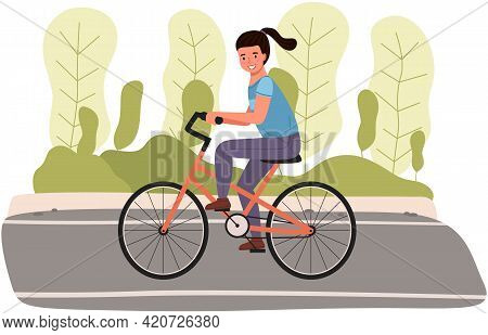 Girl Riding In Park. Woman Rides Bicycle On City Road. Female Character Doing Sports Outdoors. Sport