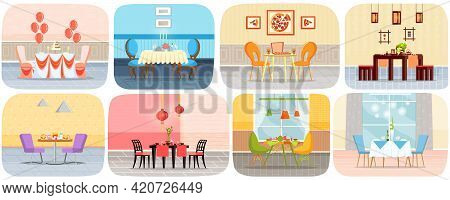 Set Of Illustrations About Restaurant Table For Two Person. Restaurant Or Cafe Interior Design. Serv