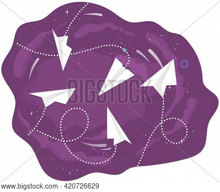 Flying White Origami Handmade Airplanes Circling On Dark Background. Aircraft Flies And Leaves Dotte