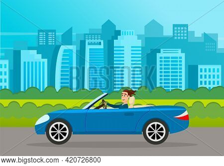 Modern Car Parking Along Town Street In Cartoon Style. Vehicles Car On City Street. Auto On Road Wit