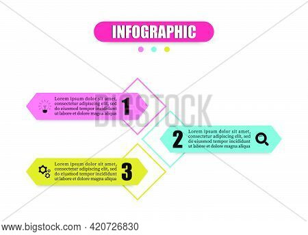 Hexagon Vector Illustration With 3 Steps, Options, Marketing Icons. Infographics Template With Three