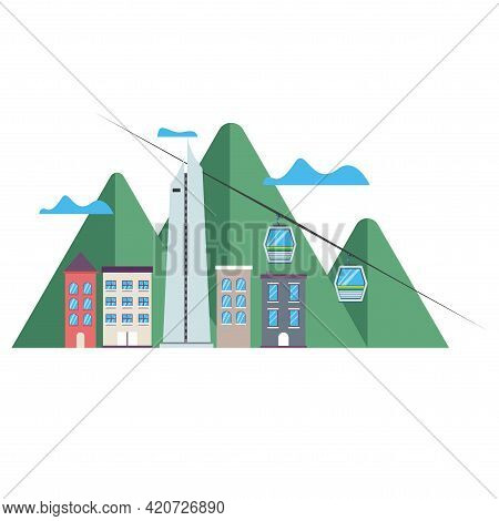 Coltejer Icon Colombia With Mountain And Flat Illustration Vector