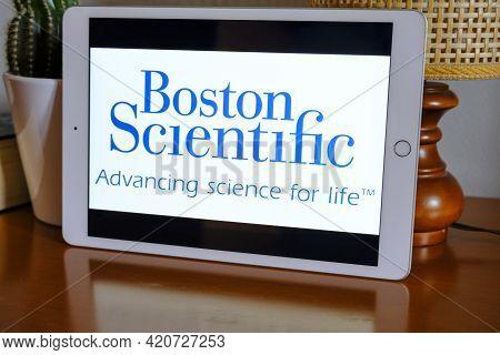 May 2021 Milan, Italy: Boston Scientific Company Logo Icon Close-up On Tablet Screen. Boston Scienti