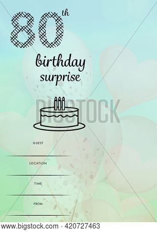 Composition of 80th birthday party with copy space and balloon pattern on green background. birthday party invitation and celebration concept digitally generated image.