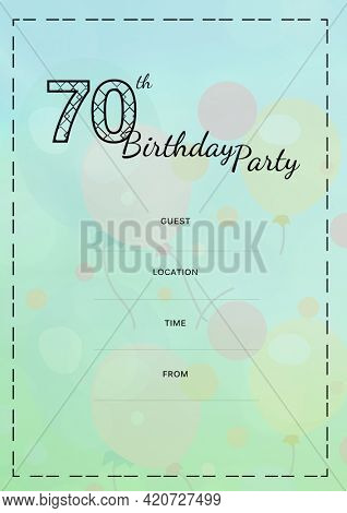 Composition of 70th birthday party with copy space and balloon pattern on green background. birthday party invitation and celebration concept digitally generated image.