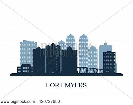 Fort Myers Skyline, Monochrome Silhouette. Vector Illustration.