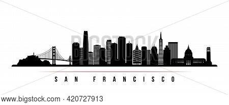San Francisco Skyline Horizontal Banner. Black And White Silhouette Of San Francisco, California. Ve