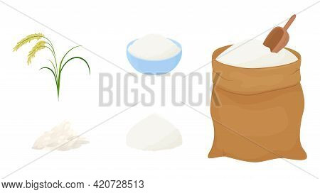Bag Of Rice Flour And Measuring Scoop Isolated On White Background. Vector Illustration Of Organic C