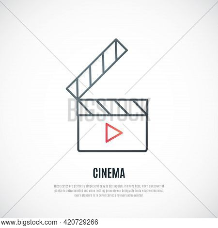 Clapboard Line Icon Isolated On White Background. Filmmaking Emblem. Film Clapper Board. Vector Illu