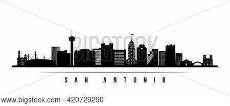 San Antonio Skyline Horizontal Banner. Black And White Silhouette Of San Antonio, Texas. Vector Temp