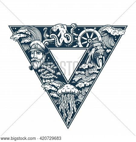 Marine Background For Print. Sea Composition For Sailor T-shirt. Nautical Design Form With Ocean Ele