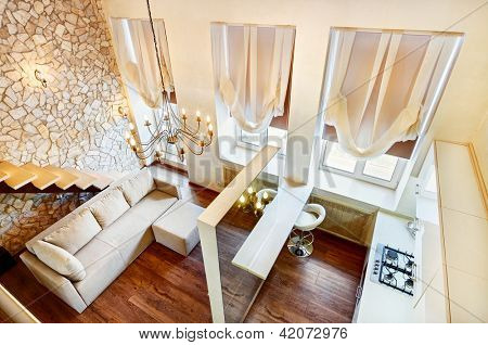 Modern art nouveau style two-high living-room interior with staircase, top view