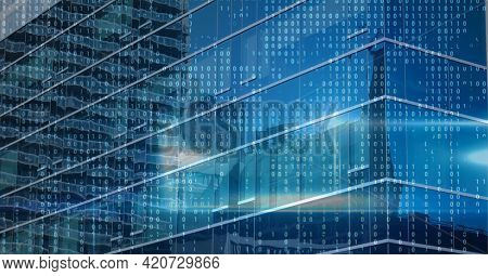 Composition of binary coding over cityscape. global data processing and digital interface concept digitally generated image.