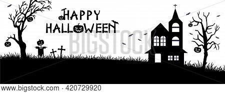 Halloween Silhouette Background Vector Illustration. Poster, Brochure, Landscape,funny Halloween Car