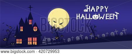 Holiday Halloween. Black Silhouettes Of Pumpkins On The Cemetery On Night Sky Background. Graveyard