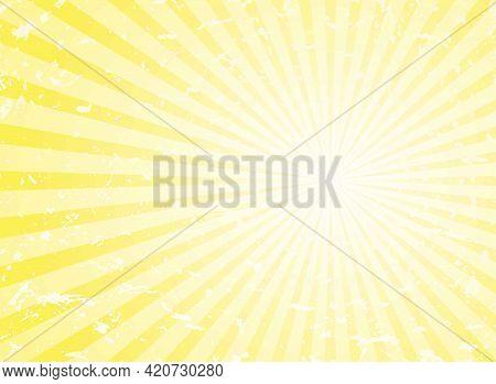 Sunlight Retro Grunge Background. Yellow Color Burst Background. Vector Illustration. Sun Beam Ray B