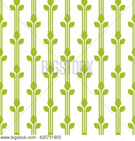 Seamless Floral Pattern. Green Leaves Texture On White Background. Flat Wheat Silhouette Simple Orna