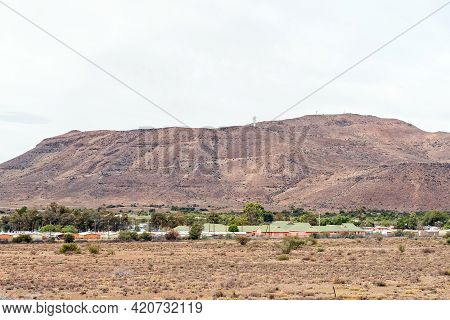 A View Of Nelspoort In The Western Cape Karoo. A Microwave Telecommunications Tower Is Visible On Th