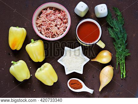 Step By Step Preparation Of Stuffed Bell Peppers, Step One, Prepared Ingredients For Cooking On A Br